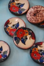 64L Lacquered Coconut Button - Art Deco style VERY LIMITED STOCK