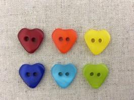 17-1018 Heart Buttons x 6
