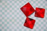 Sew On Acrylic Faceted Gem - Light Red  x 1
