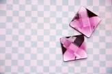 Sew On Acrylic Faceted Gem - Burgundy Pink - 25mm x 1