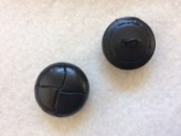 17-1025 x 5 Football Buttons - Black Leather