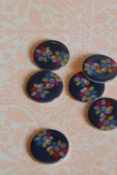 Blue Flower Printed River Shell Button x 1