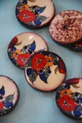 64L Lacquered Coconut Button - Art Deco style