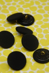 Black Fabric Covered Button x 6
