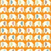 Ele Train Orange - Birch Organic Fabrics  Safari Soiree  x 1 metre
