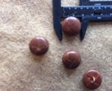17-1046 x 3 Football Buttons -  Brown Leather