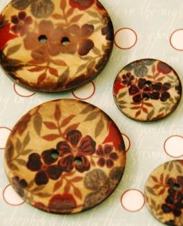 70-A7271 64L Floral Printed Coconut Button  x 3