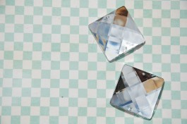 Sew On Acrylic Faceted Gem - Crystal - 30mm  x 1
