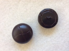 17-1047 x 3 Football Buttons - Dark Brown Leather