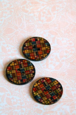 Patchwork Coconut Button x 1