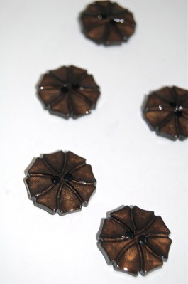 70-1572S  Chocolate Art Deco Flower Button x 1