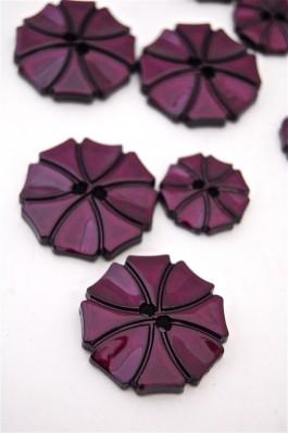 70-1572S  Plum Art Deco Flower Button x 1
