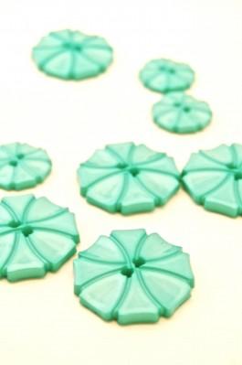 70-1572S Turquoise Art Deco Flower Button x 1