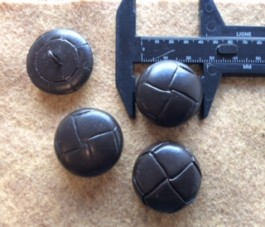17-1038 Football Buttons - Dark Chocolate  Brown Leather  x 3