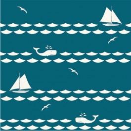 SET SAIL TEAL - Set Sail - Birch Organic Fabrics  x 1 metre