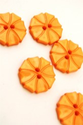 70-1572S  Orange Art Deco Flower Button x 1