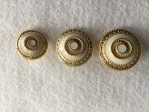 08-B980  Gold  and Ivory Enamel Metal  Shank Button x1
